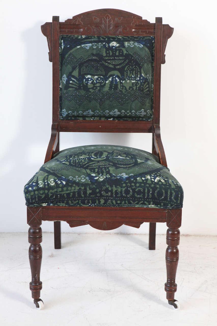 Vintage Eastlake Chair Upholstered in African Print Fabric ...