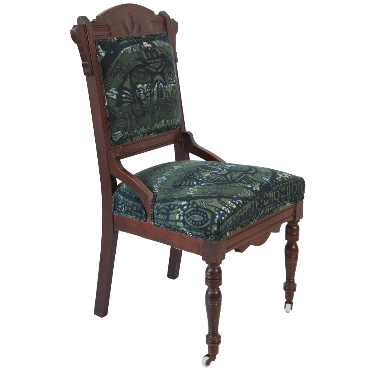 Vintage eastlake chair upholstered in african print fabric