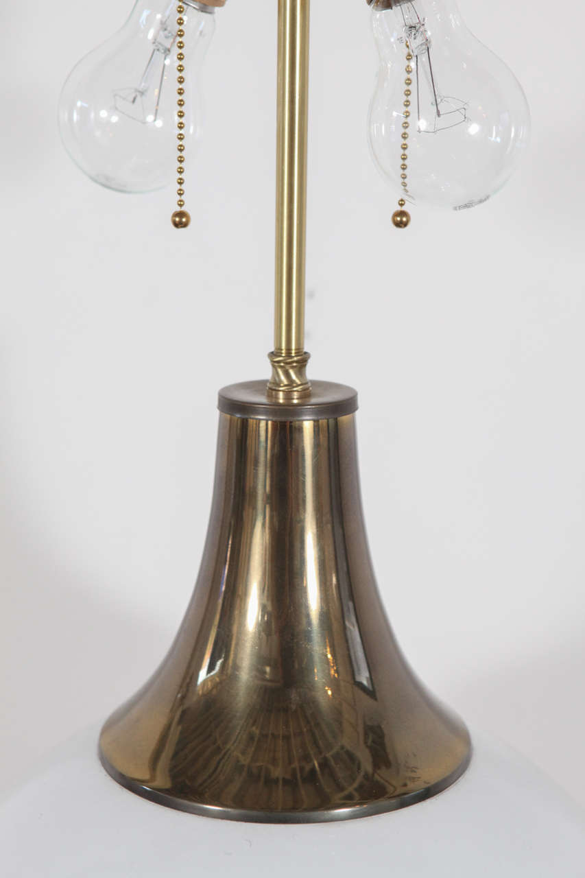 Vintage Round White Table Lamp With Brass Cap At 1stdibs