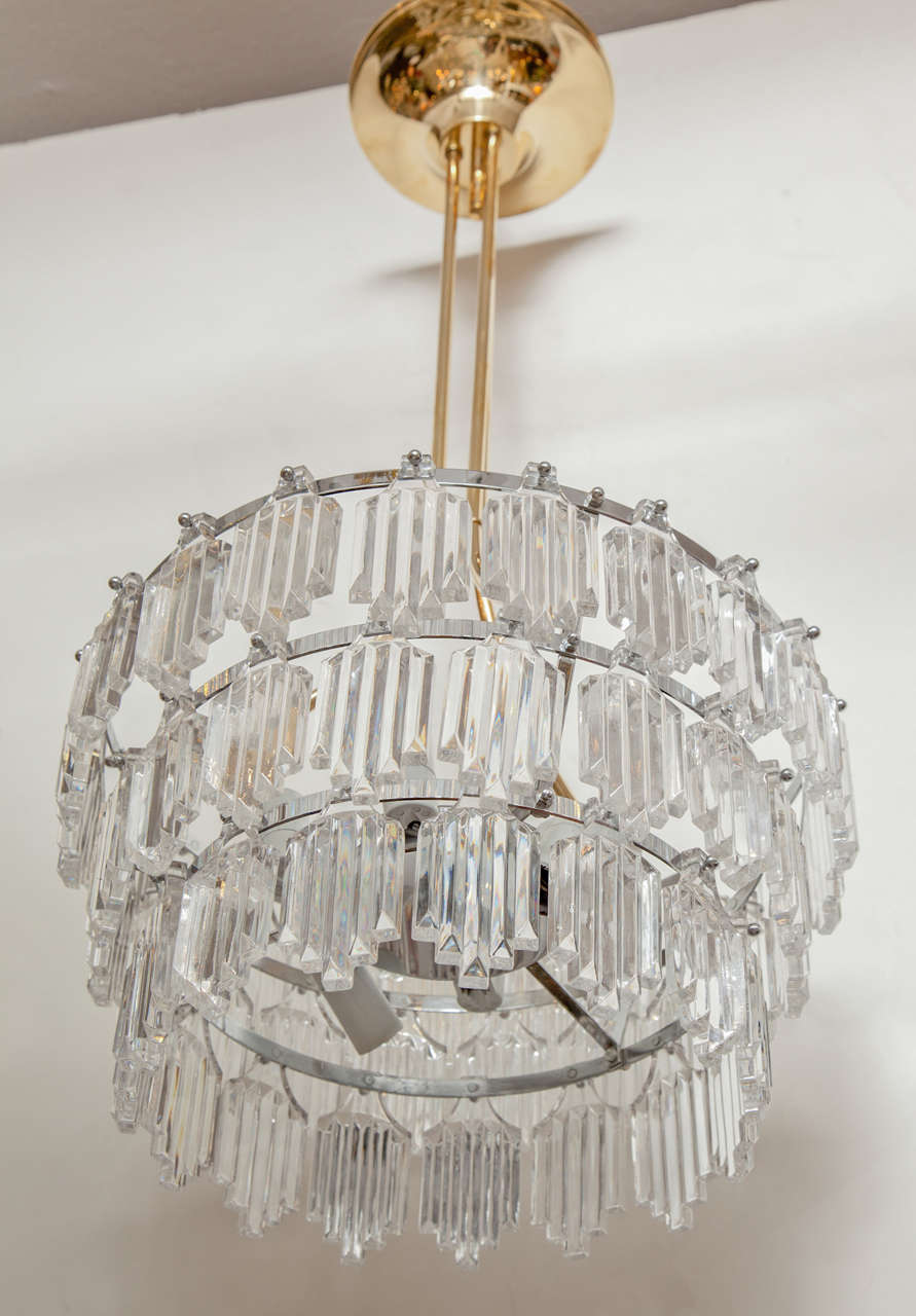 Orrefors art deco influenced chandelier for sale at 1stdibs swedish modern three tier crystal chandelier suspended from a brass and nickel armature by orrefors arubaitofo Images