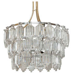 Three-Tier, Art Deco Influence Crystal Chandelier by Orrefors, One of Two