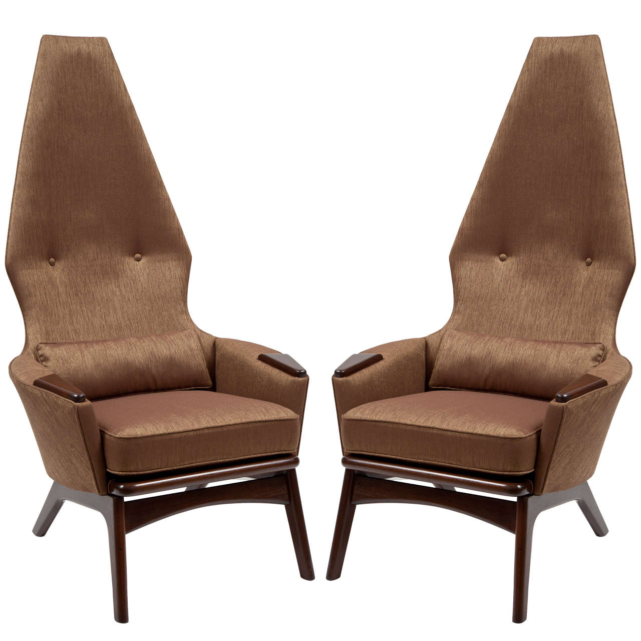 Pair Of Stylized High Back Lounge Chairs By Adrian Pearsall At 1stdibs