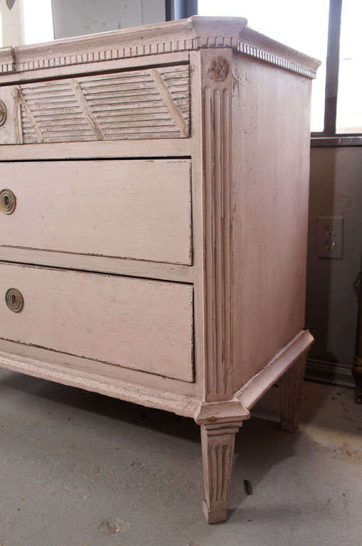 Wood Gustavian Painted Commode