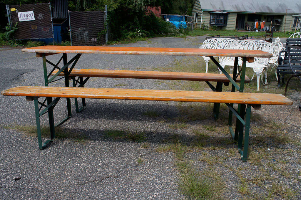 German Beer Hall Table U0026 Benches In Good Condition For Sale In Great  Barrington, ...