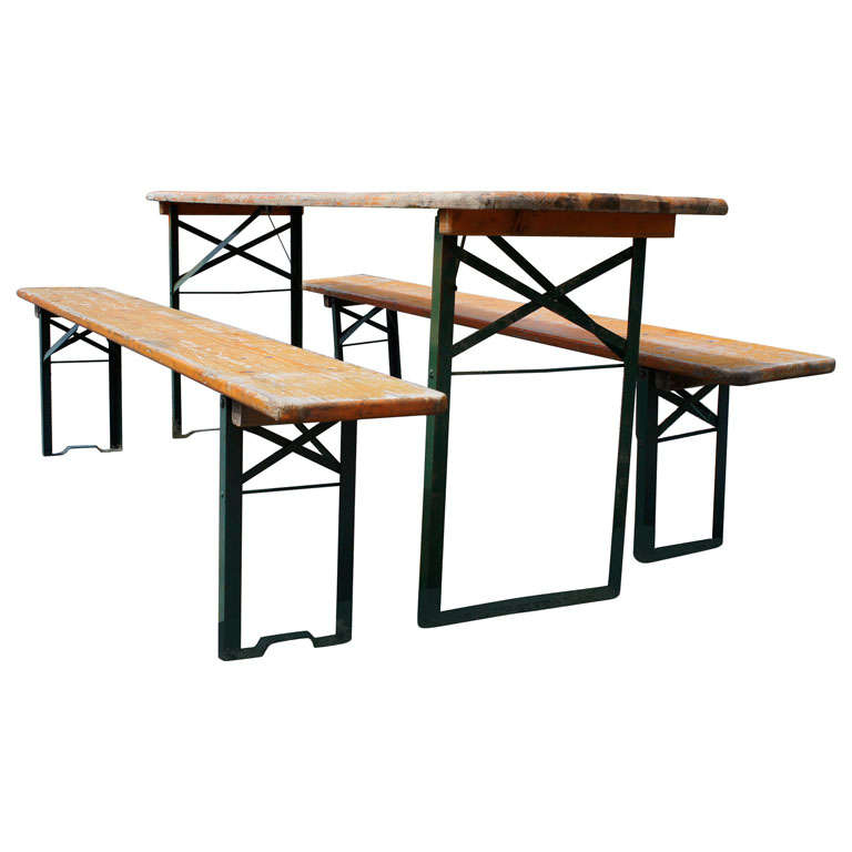 German Beer Hall Table And Benches At 1stdibs