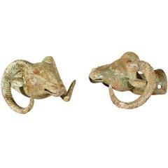 Pair of Antique Rams Heads with Original Patina