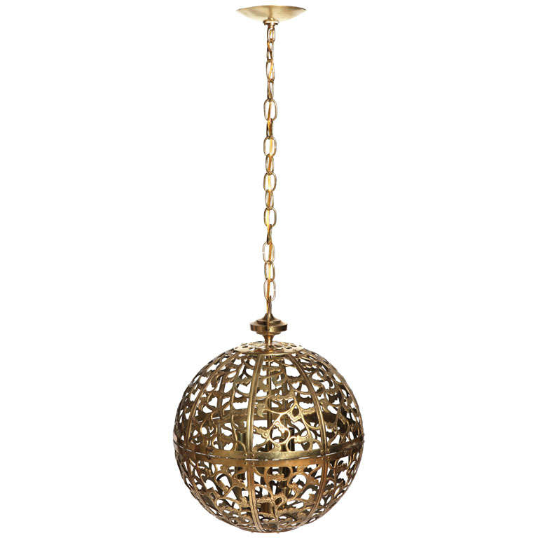 single large brass asian style pierced pendant light at