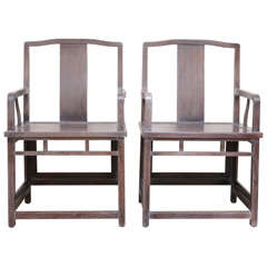 Exquisite Pair of Ceruse Finished Empirical, Far-Eastern Influenced Chairs