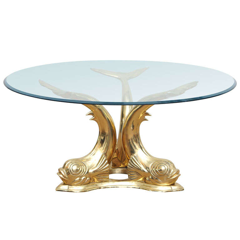 Brass Dolphin Coffee Table At 1stdibs