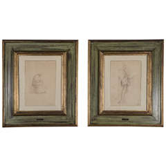 Pair of 19th Century Study Drawings by Listed Artist