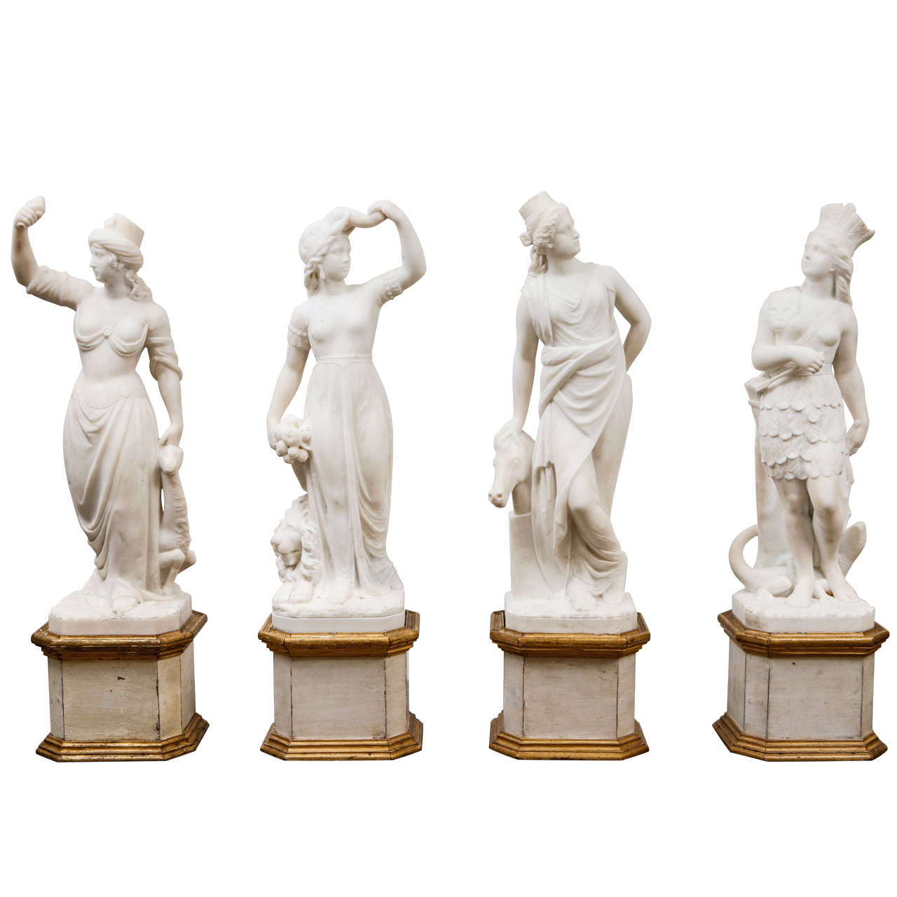 19th Century Italian Carrara Marble Statues of the Four Continents
