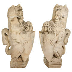 Pair of 18th Century French Limestone Lions