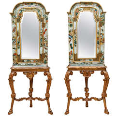 Pair of 18th Century English Chinoiserie Mirrored Corner Cabinets