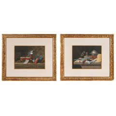 19th c. Pair of French Gouache Still Life Paintings
