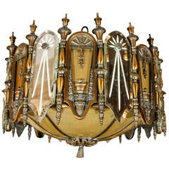 1930s Bronze and Mirrored Glass Chandelier