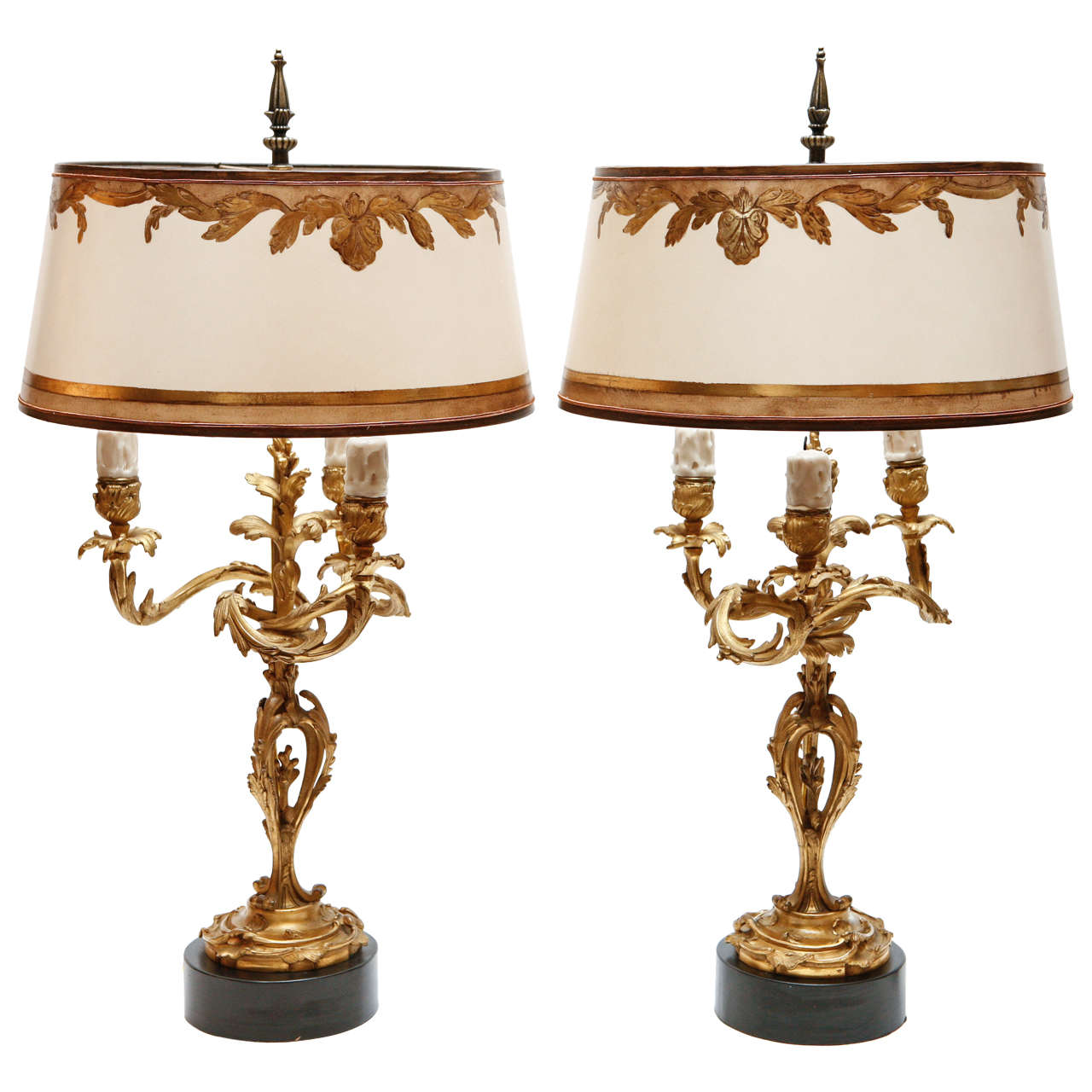 Pair Of 19th C French Dore Bronze Candelabra Lamps