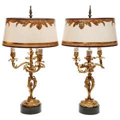 Ein Paar 19. Jahrhundert Französischer Dore Bronze Kerzenhalter Lampen