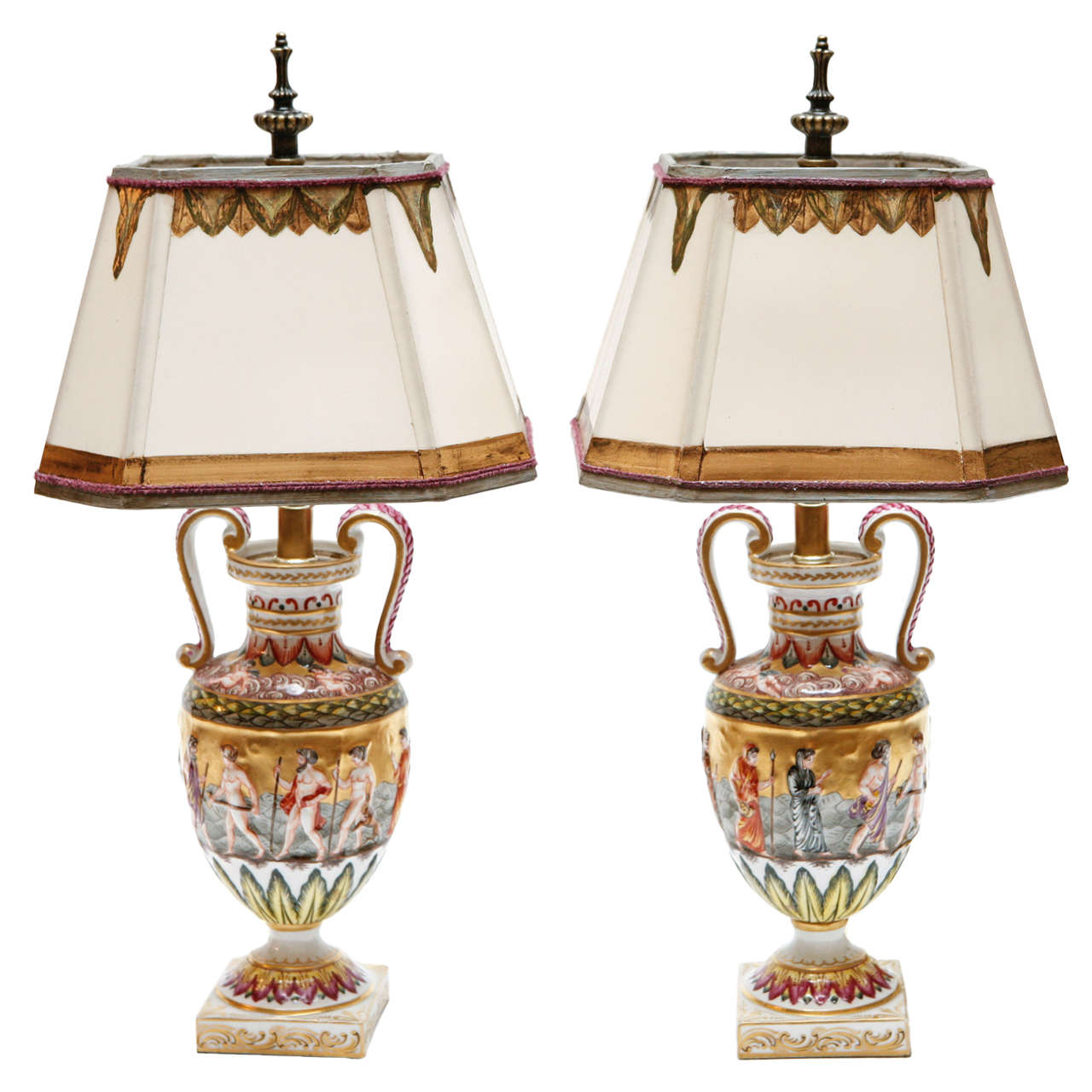Attractive Pair Of 19th Century Italian Capodimonte Lamps For Sale