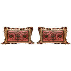 Pair of French 18th Century Fragment Pillows