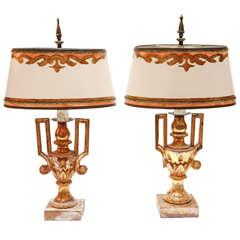 Pair of 19th c. Italian Giltwood Urn Lamps