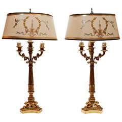 Pair of 19th c. French Dore Bronze Candelabra Lamps