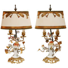 Pair of 19th Century Porcelain Bird Lamps