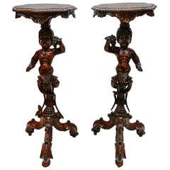 Pair of 19th c. Italian Blackamoor Pedestals