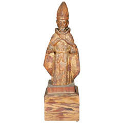 Spanish Colonial Carved Figure of a Bishop