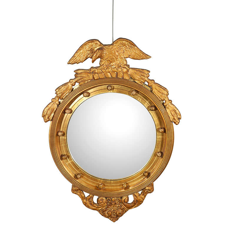federal style convex wall mirror at 1stdibs