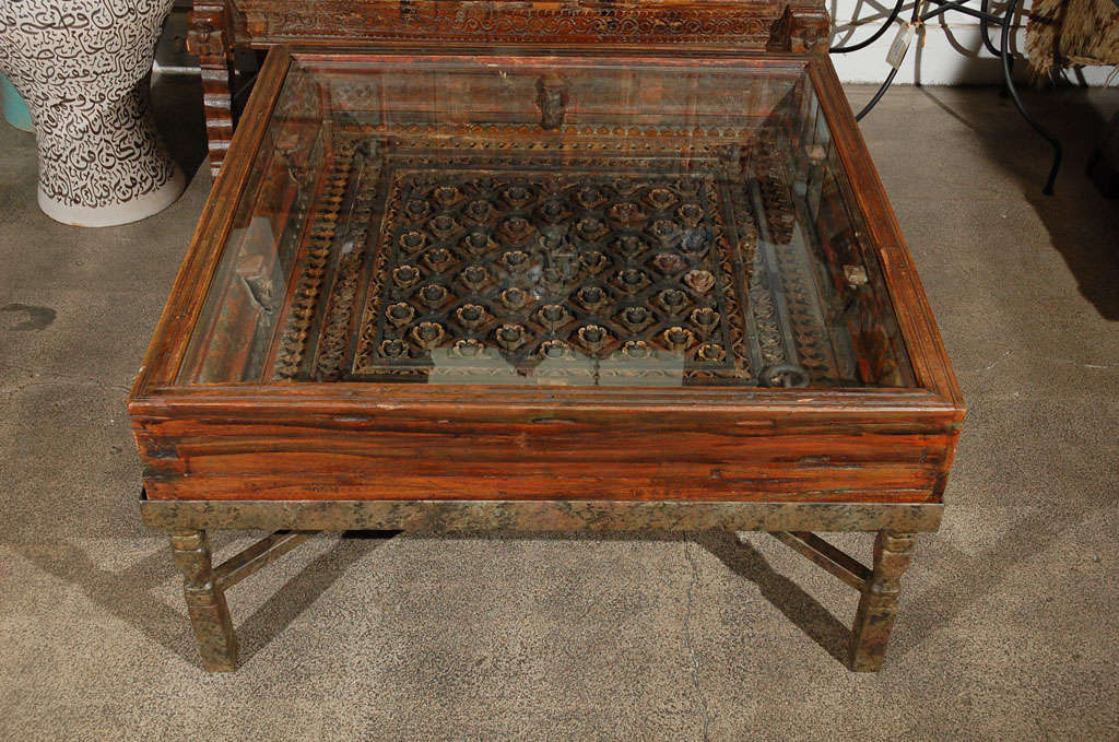 19th Century Carved Indian Window Made Into A Coffee Table For Sale