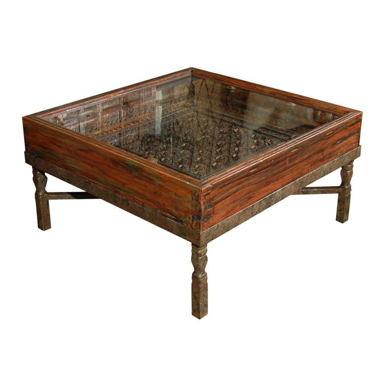 Antique Indian Coffee Tables: Carved Indian Window Made Into A Coffee Table At 1stdibs
