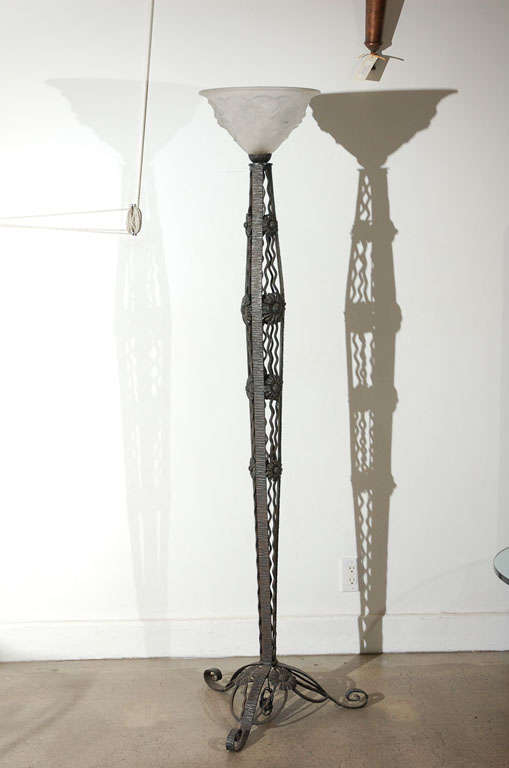French Art Deco Wrought Iron Floor Lamp For Sale At 1stdibs