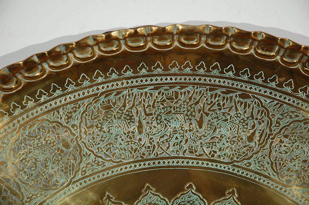Antique Mamluk Persian Brass Tray Table 42 Quot 5 With