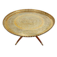"""Antique Mamluk Persian Brass Tray Table 42"""" 5 with Calligraphy"""