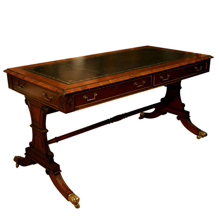 Beautifully Carved And Detailed Partners Writing Desk At