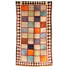 1940 Gabbeh Rug with Pure Handspun Organic Vegetable-Dyed and Undyed Wool