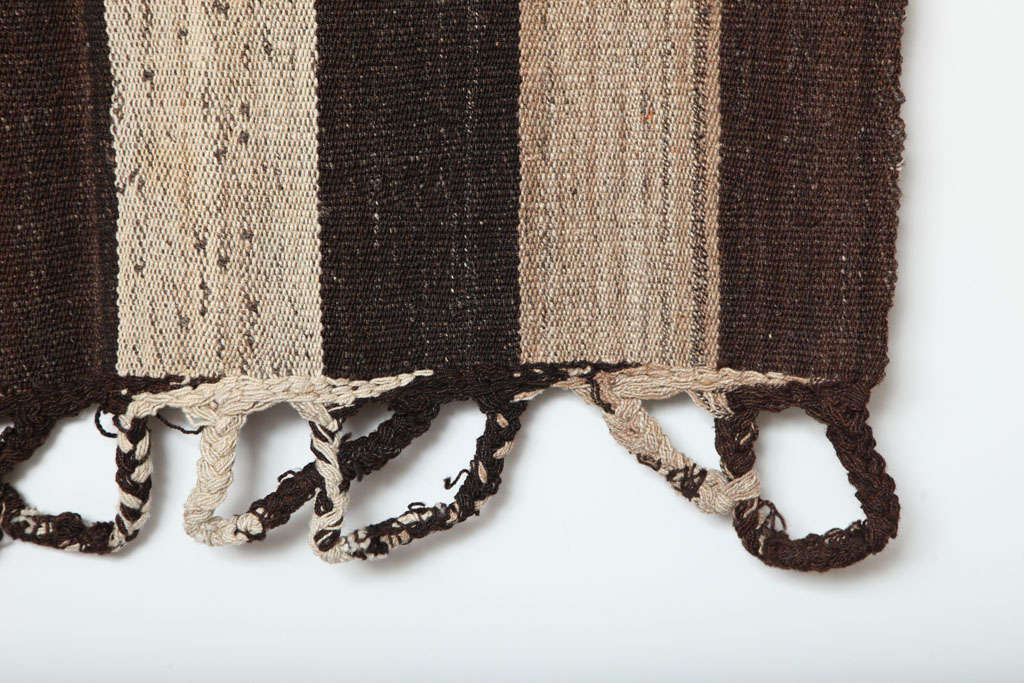 Hand-Knotted Bakhtiari Cow Blanket Kilim with Woven Pile Design, Pure Handspun Wool, 1890s