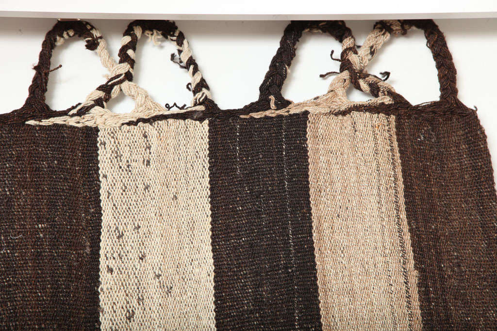 Bakhtiari Cow Blanket Kilim with Woven Pile Design, Pure Handspun Wool, 1890s 1