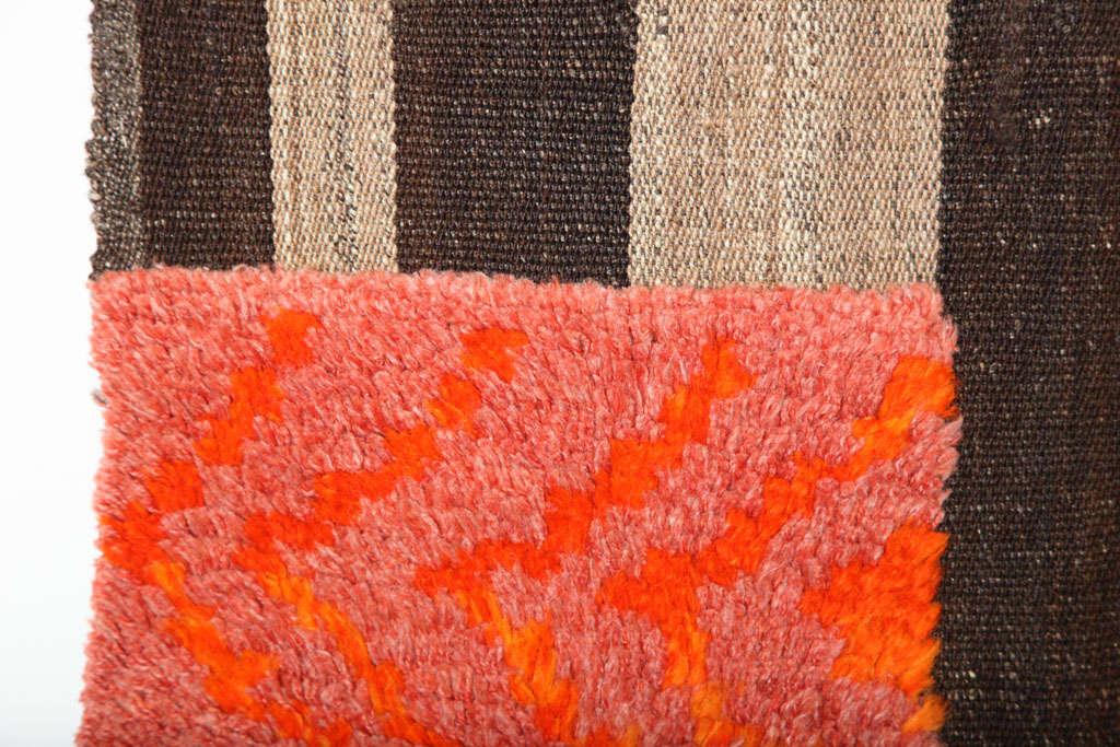 Bakhtiari Cow Blanket Kilim with Woven Pile Design, Pure Handspun Wool, 1890s 3