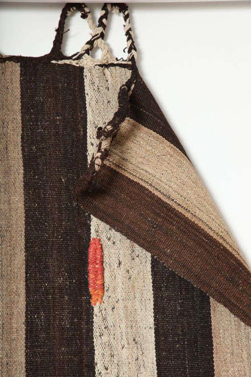 Bakhtiari Cow Blanket Kilim with Woven Pile Design, Pure Handspun Wool, 1890s 4
