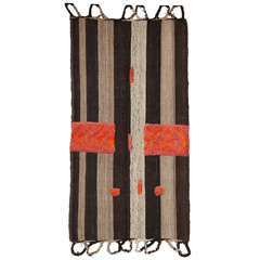 Bakhtiari Cow Blanket Kilim with Woven Pile Design, Pure Handspun Wool, 1890s