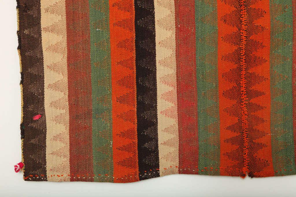 1920 Persian Jajim Carpet in Pure Handspun Wool and Organic Vegetal Dyes For Sale 3