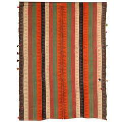 1920 Persian Jajim Carpet in Pure Handspun Wool and Organic Vegetal Dyes