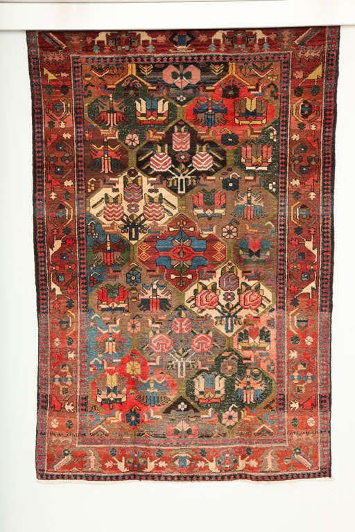 This garden design Bakhtiari from the Feredan village consists of a cotton warp and handspun wool weft and pile. The bright reds, blues, greens and pinks in this carpet were all created using organic vegetable dyes, and the asymmetrical quality of