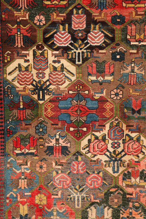 Persian 1920 Feredan Village Bakhtiari Rug with Hand-Knotted Wool Pile and Organic Dyes For Sale