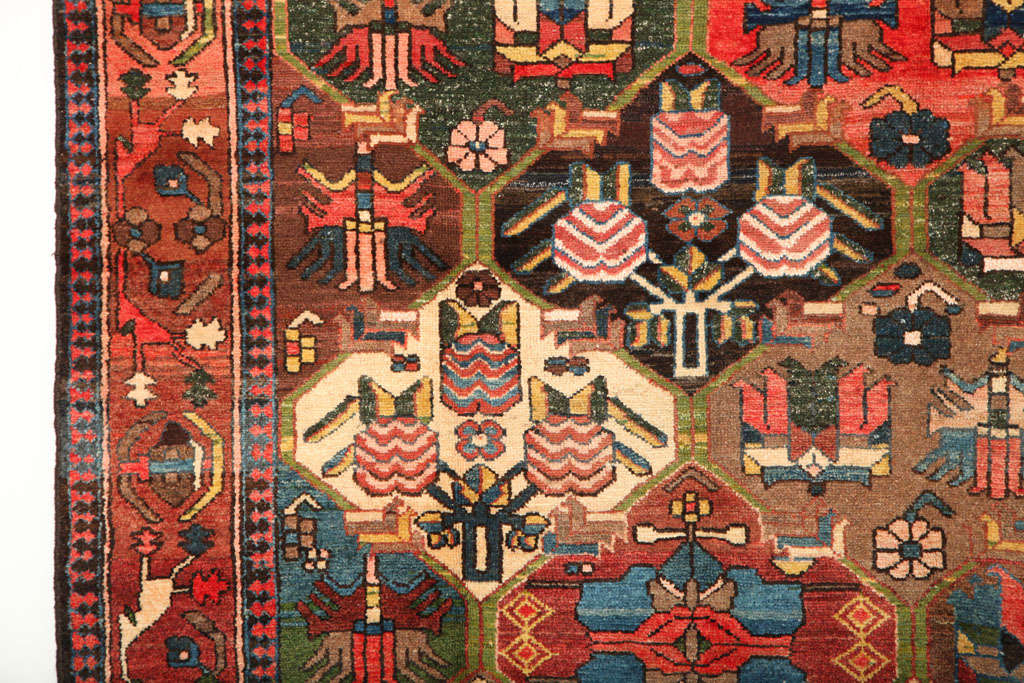 Vegetable Dyed 1920 Feredan Village Bakhtiari Rug with Hand-Knotted Wool Pile and Organic Dyes For Sale