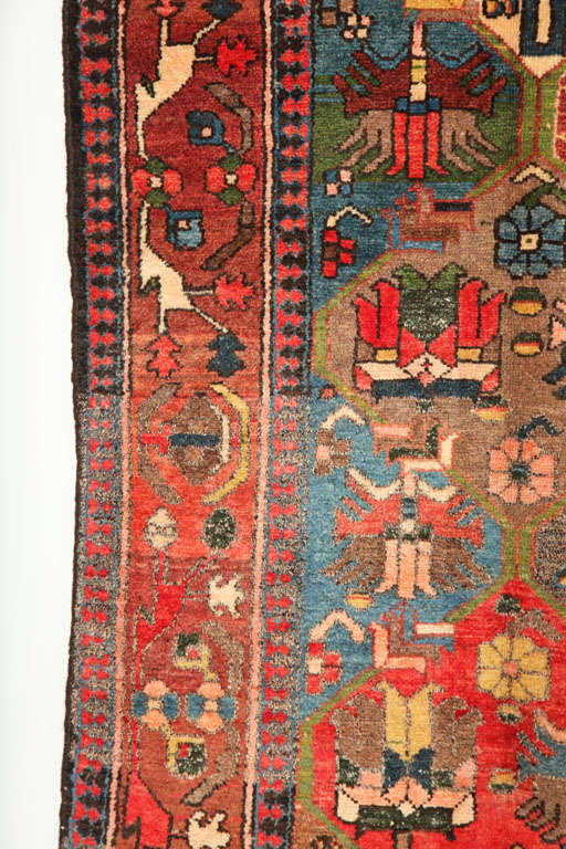 20th Century 1920 Feredan Village Bakhtiari Rug with Hand-Knotted Wool Pile and Organic Dyes For Sale
