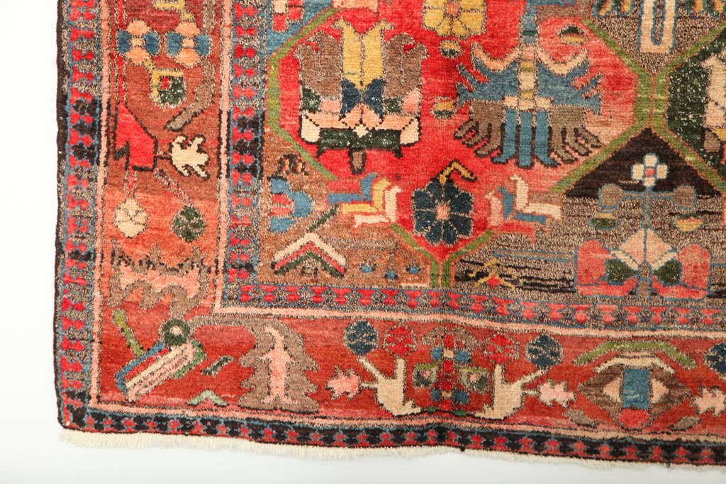 1920 Feredan Village Bakhtiari Rug with Hand-Knotted Wool Pile and Organic Dyes For Sale 1