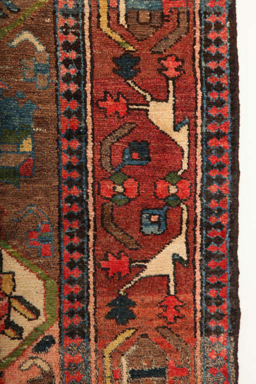 1920 Feredan Village Bakhtiari Rug with Hand-Knotted Wool Pile and Organic Dyes For Sale 3
