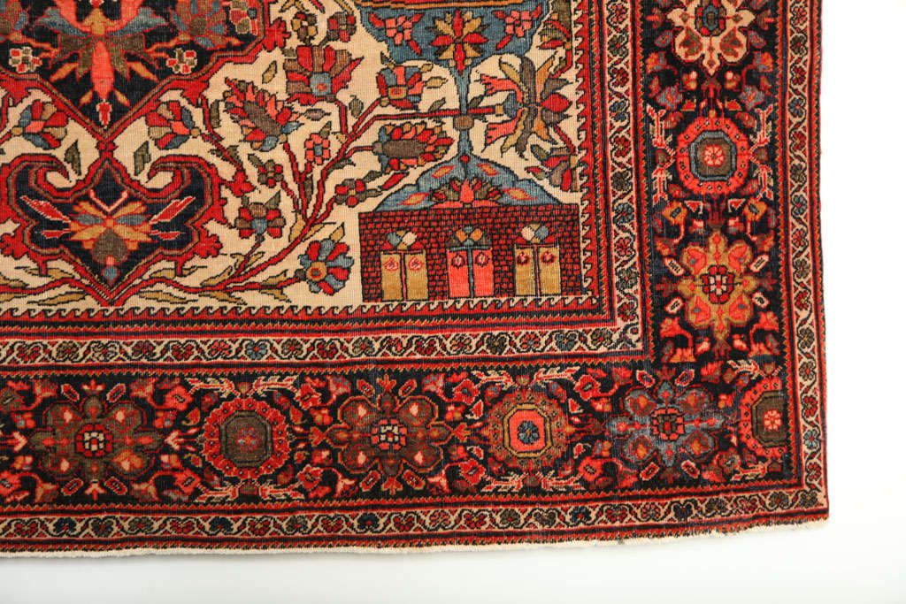 19th Century 1890 Persian Fereghan Rug with Handspun Wool and Organic Vegetable Dyes For Sale